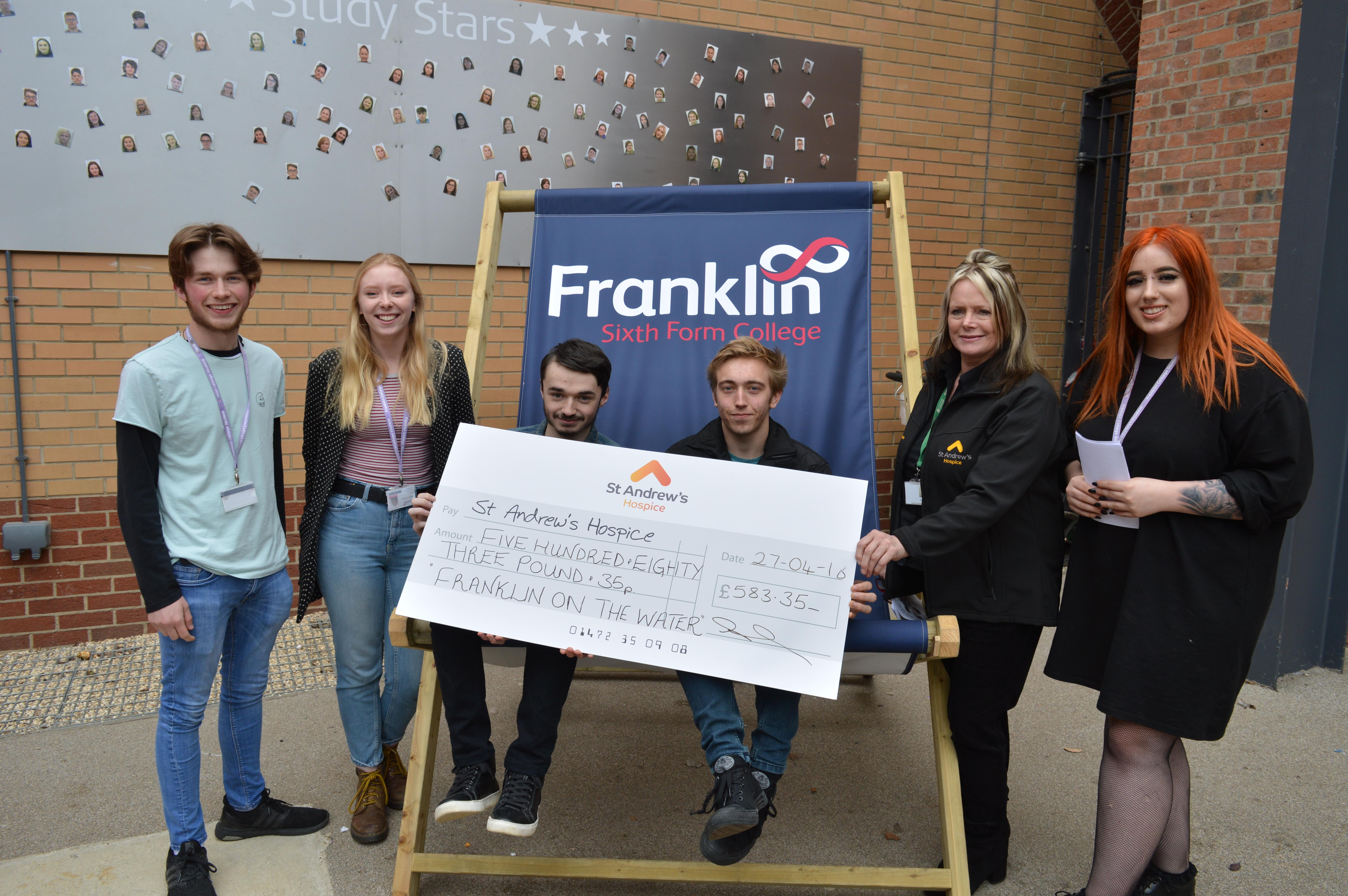 Giant cheque from our fab music students for St Andrew's Hospice