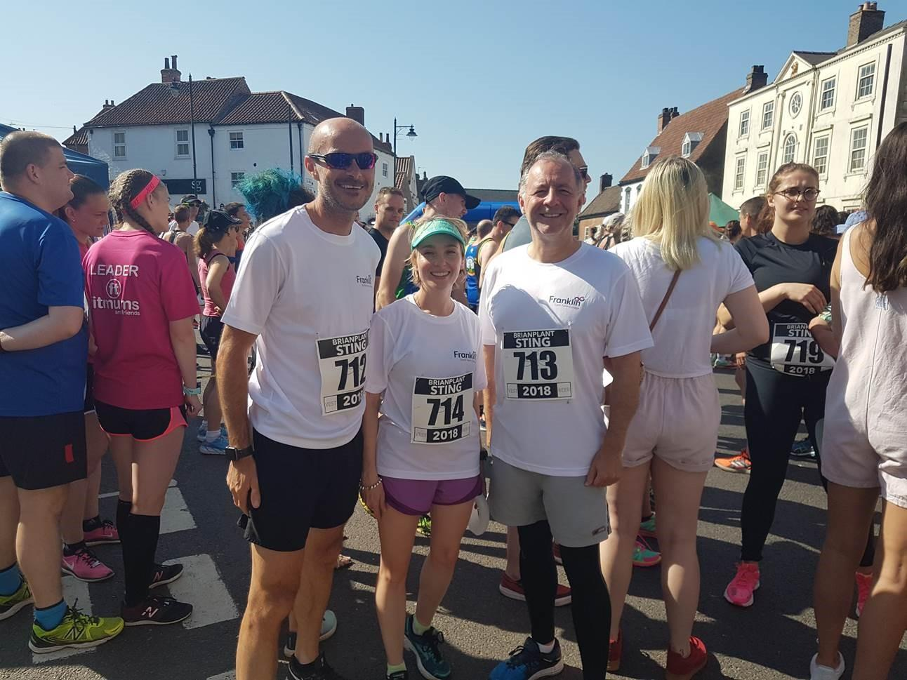 Gary Thomas, Head of Sport,  Laura Horton, Head of Science and Pete Kennedy, Franklin Principal, completed the Caistor 10K on Sunday!